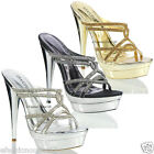 NEW WOMENS LADIES DIAMANTE HIGH HEEL EVENING WEDDING PROM SANDALS SHOES SIZE