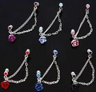 Rose Flower Cartilage Ear Tragus Barbell w/Chain Drop - Choose Your Colour