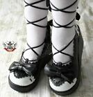 Sweet Lolita Dolly Cosplay Princess Roman Gladiator Lace Wedge Shoe Pink+White