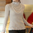 Splicing Lace Turtle Neck Tops Slim Long Sleeve Knit Sweater   [HA]