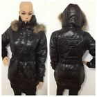 WOMENS LADIES QUILTED PADDED WET LOOK SHINY HOODED FAUX FUR PARKA JACKET COAT