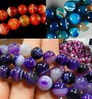 6mm 8mm 10mm Natural Color Stripe Agate Onyx Gems Round Loose Beads 15""