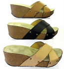 LADIES SPOT ON HIGH WEDGE CROSS OVER STRAP MULE SANDALS - F10132