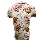 FLY53 T SHIRT CRIMSON GHOST MENS BONE WHITE FLORAL PRINT TOP UK S - XXL