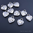 THANK YOU HEART MESSAGE CHARMS - Antique Silver Colour Plated - Choose Quantity