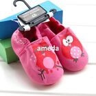 Newborn Baby Lovely Girls Hot Pink Owl Cotton Soft Crib Shoes 0-18M