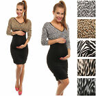 Pregnancy Maternity Animal Print Stretch Ruched Dress Leopard Lampart Tiger 041