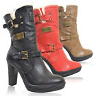 WOMEN'S LADIES CHIC LOOK STYLISH BLOCK HEEL FUR WARM WINTER SNOW BUCKLE BOOTS