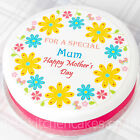 "Mothers Day Cake Topper - Happy Mothers Day Flowers - 7.5"" Round Icing or Wafer"