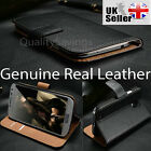 Luxury Genuine Real Leather Flip Case Wallet Cover HTC One M7 Tan Black Brown