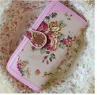 Canvas Rose Checkbook Clutch Change Coin Bag Women's Purse Handbag Ladies Wallet
