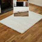 NEW MODERN EXTRA LARGE MEDIUM SMALL THICK 5CM HIGH PILE CREAM COLOUR SHAGGY RUGS