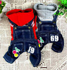Cherry Sweater Jeans Overalls Jumpsuit Cat Small Dog Clothes Dog Costume 5 size