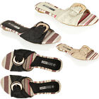 WOMENS LADIES FLAT OPEN TOE GOLD BUCKLE SANDALS SLIP ON SUMMER BEACH SHOES SIZE