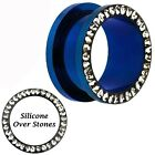 Anodized Blue Coated CZ Studded Surgical Steel Ear Tunnel Plugs