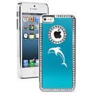 For iPhone 4 4S 5 5S 5c Light Blue Rhinestone Bling Hard Case Dolphin
