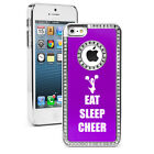 For iPhone 4 4S 5 5S 5c Purple Rhinestone Bling Hard Case Eat Sleep Cheer