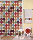 9-Pc Dot Swirl Multi Color Stylized Circles Bathroom Collection Bath Accessories