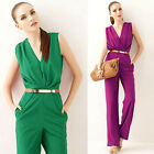 Salable Sexy Deep V-Neck Sleeveless Long Pants Coveralls Jumper Jumpsuit Romper