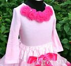 Light Pink Long Sleeves Top Pettitops Hot Pink Rosettes for Pettiskirt 1-7Y Q05