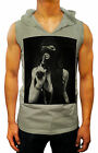 mens fashion GANGSTER SWAG SEXY DEEP V-NECK HOODED SINGLET T-SHIRT DOPE RARE MMA