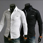Mens Luxury Casual Stylish Slim Fit Long Sleeve Casual Dress Shirts Black