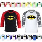Mens DC Comics Superhero Batman 3/4 Sleeve Raglan Baseball Tshirts Jersey Top