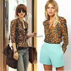 Women Fashion Sexy Korean Leopard Tin Chiffon Long Sleeve Shirt Top Blouse C1MY