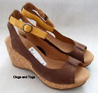 NEW CLARKS PATIENCE SALLY BROWN NUBUCK LEATHER WEDGE SANDALS