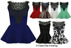 LADIES LACE TRIM PEPLUM PARTY TOP WOMENS SLEEVELSS BODYCON MINI DRESS 8-14