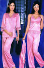 Smart 3 piece Pyjama set with Gown in Satin lycra nightwear sleepwear london3065
