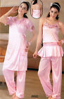 Women's Satin lycra 3 piece pajama suit with gown sleepwear nightwears  UK 3072