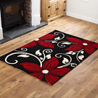 SMALL MEDIUM LARGE EXTRA LARGE SOFT BLACK RED UNIQUE FLOWERY DESIGN RUG on Sale