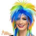 80s Rainbow Punk Rock Wig Multi-Coloured Neon Mullet Fancy Dress Costume Womens