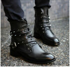 British style men's personality rivet high top boots pointed toe casual boots