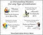 50 x Personalised Stickers Wedding Bomboniere Favours Sticker Labels Birthday