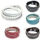 Bracelet Bangle Cuff Leather Silver Tone Alloy Rivet Punk Style Multilayer