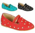 Baby Toddler Girls Heart Stud Round Toe Mary Jane Instep Strap Ballet Flat Shoes