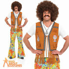 Adult 60s Psychedelic Floral Flares Hippy Hippie Mens Fancy Dress Costume