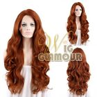 "Long Curly Wavy 18""-28"" Reddish Brown Lace Front Wig Heat Resistant"
