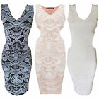 Women Ladies Floral Flower Print Knee Length Side Cut Out Bodycon Midi Dress