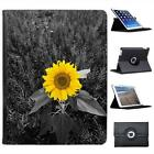 Bright Yellow Sunflower In Grey Fields Folio Leather Case For iPad 2, 3 & 4
