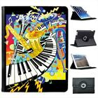 Jazz It Up With Keyboard Saxophone & Trumpets Leather Case For iPad 2, 3 & 4
