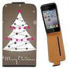 Merry Christmas Tree & Star Decoration Leather Case for iPhone 4 4S