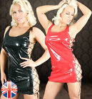 Made in UK NEW SEXY PVC LACE UP SIDES DRESS Fetish Clubbing Goth 10 12 14 16 18