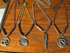 """Pewter Copper Brass Lightning Bolt Eagle Clouds Charm Necklace 20"""" Chain"""