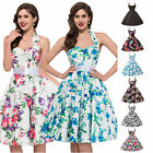 LADIES VINTAGE 50S 60S STYLE FLORAL ROCKABILLY PARTY SWING PROM EVENING DRESS UK