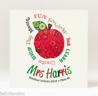 Handmade Personalised Thank you for Being My Teacher Button Apple Card