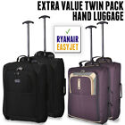 Twin Set 50x40x20 EasyJet Trolley Cabin Approved Wheeled Suitcase Hand Luggage