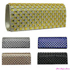 New Womens Diamante Rhinestone Effect Evening Clutch Bag Gold Silver Blue Black